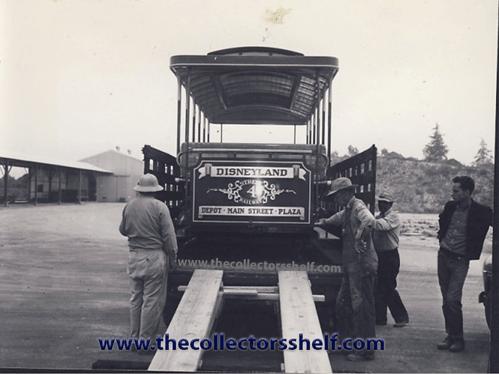 Trolley arriving to Disneyland in 1955